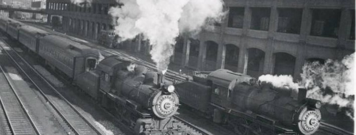 Chicago, Two Steam Engines Running on Tracks, 1946